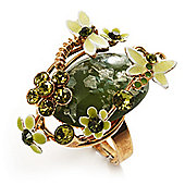 Exquisite Flower And Butterfly Cocktail Ring (Gold And Olive Green)