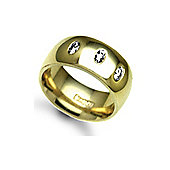 Jewelco London 18ct Yellow Gold 8mm Court Diamond set 30pts Trilogy Wedding / Commitment Ring