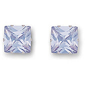 Jewelco London 9ct Yellow Gold studs claw-set with 8mm Solitaire square light blue CZ stone