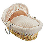 Clair De Lune Natural Wicker Moses Basket Honeycomb Cream