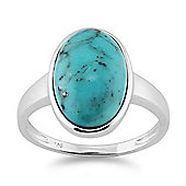 Gemondo 925 Sterling Silver 3.50ct Turquoise Cabochon Oval Bezel Set Cocktail Ring