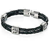 Fred Bennett Black Leather Steel Motif Bracelet