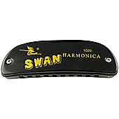 Swan 10 Hole Boat Shaped Harmonica C - Black