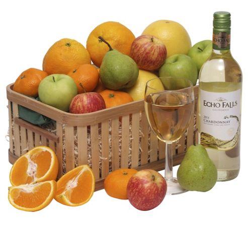 Fruit Basket with USA Wine