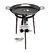 Paella Cooking Set with 46cm Polished Steel Paella Pan, Gas Burner, Legs and Spoon