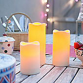 Set of 3 Outdoor Battery LED Candles With Timer
