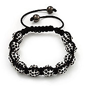 Unisex Shamballa Bracelet Crystal Jet Black Swarovski Crystal Beads 10mm - Adjustable