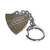 Pewter Wedding Usher Shield Keyring