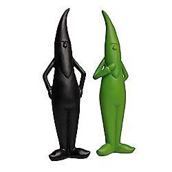 Pair of Green & Black Resin Modern Garden Gnome Ornaments