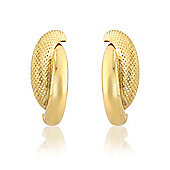 Jewelco London 9ct Yellow Gold - Crossover Stud - Earrings - Ladies