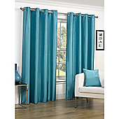 Faux Silk Turquoise Lined Ring Top Curtains - 90x90 Inches