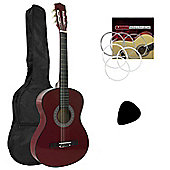 Tiger 1/2 Size Red Kids Classical Guitar Package