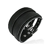 Urban Male Men's Black Leather Double Strap 40mm Wide Cuff Bracelet