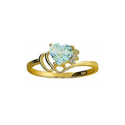 QP Jewellers Diamond & Aquamarine Passion Heart Ring in 14K Gold - Size A
