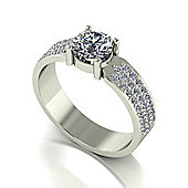 18ct White Gold 6.0mm Moissanite with Pave Set Moissanite Band.