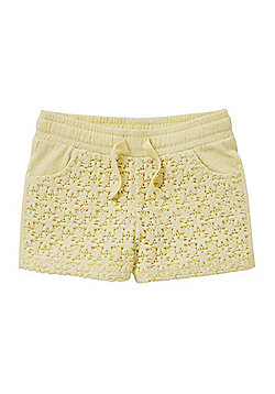 F&F Lace Panel Sweat Shorts - Lemon