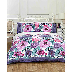 Rapport Art Summer Flowers Plum Duvet Cover Set - Single