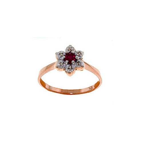 QP Jewellers Ruby & SI-2 Diamond Ontario Wildflower Ring in 14K Rose Gold - Size A