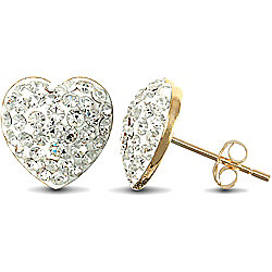 Jewelco London 9ct Gold Clear sparkling Crystal set Heart Studs