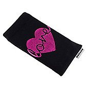 Trendz Fabric Sock for Universal Smartphone Devices - Black Metallic Love Heart