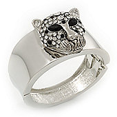Statement Crystal 'Tiger' Hinged Bangle Bracelet In Silver Plating - 18cm Length