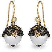 Blossom Copenhagen Gold Plated Sterling Silver Freshwater Pearl & Cubic Zirconia Dangle Earrings