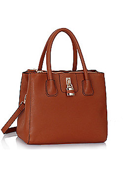Brown Three Zip Compartments Handbag Padlock Grab Bag