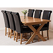 Vermont Solid Oak Extending 200 - 240 cm Dining Table with 6 Black Washington Leather Chairs