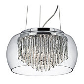 Beautiful Chrome Ceiling Light with Crystal Detail and Glass Shade