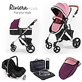 Riviera Plus 3 in 1 White Travel System - Dusty Pink / Plum