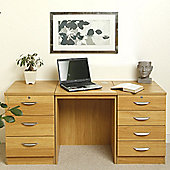 Enduro Home Office Desk / Workstation with Two Pedestal Units - English Oak