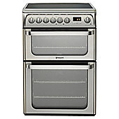 Hotpoint HUE61XS, 60cm, Inox, Electric Cooker, Double Oven