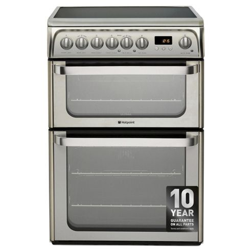 Hotpoint HUE61XS, Ultima, Freestanding, Electric Cooker, 60cm, Inox, Twin Cavity, Double Oven