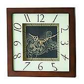 Premier Housewares Square Wall Clock Dark Wood Frame