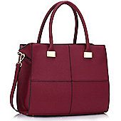 KCMODE Ladies Burgundy Fashion Tote Handbag