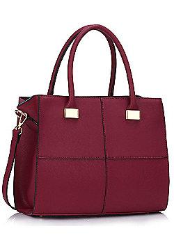 KCMODE Ladies Burgundy Fashion Tote Handbag