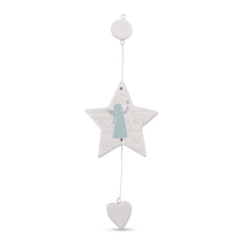 Ceramic Christmas Tree Decoration with Green Angel Silhouette & Text