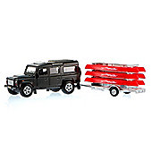 Kids Globe Land Rover Defender With Canoe Trailer
