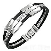 Urban Male Men's Stainless Steel Wire & Black Rubber Contemporary Bangle