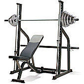 Marcy SM600 Smith Machine & Weight Bench with 125kg Olympic Weight Set