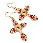 Ruby Red Crystal Filigree Cross Drop Earrings In Gold Plating - 55mm Length