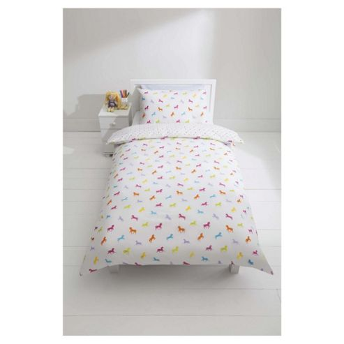 Tesco Kids Horse Silhouette Print Duvet Cover Set Single