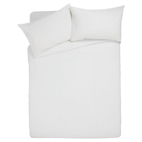 Seersucker Bedset Single White