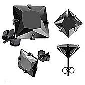 Urban Male Black Stainless Steel & Square CZ Men's Earrings 10mm