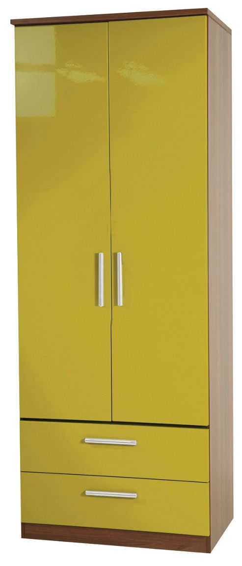 Welcome Furniture Knightsbridge Tall Wardrobe with 2 Drawers - Olive - White