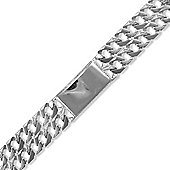 Jewelco London Sterling Silver - Casted Curb I.D - Bracelet - Children's