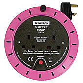 Status 2 Socket 5 Metre Extension Reel - Pink