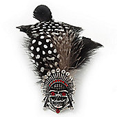 Oversized Black/White/Red Feather 'Indian Skull' Stretch Ring In Silver Plating - Adjustable - 13cm Length