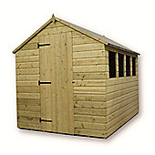 8ft x 6ft Pressure Treated T&G Apex Shed + 4 Windows + Single Door