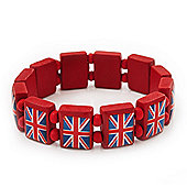 UK British Flag Union Jack Red Stretch Wooden Bracelet - up to 20cm length